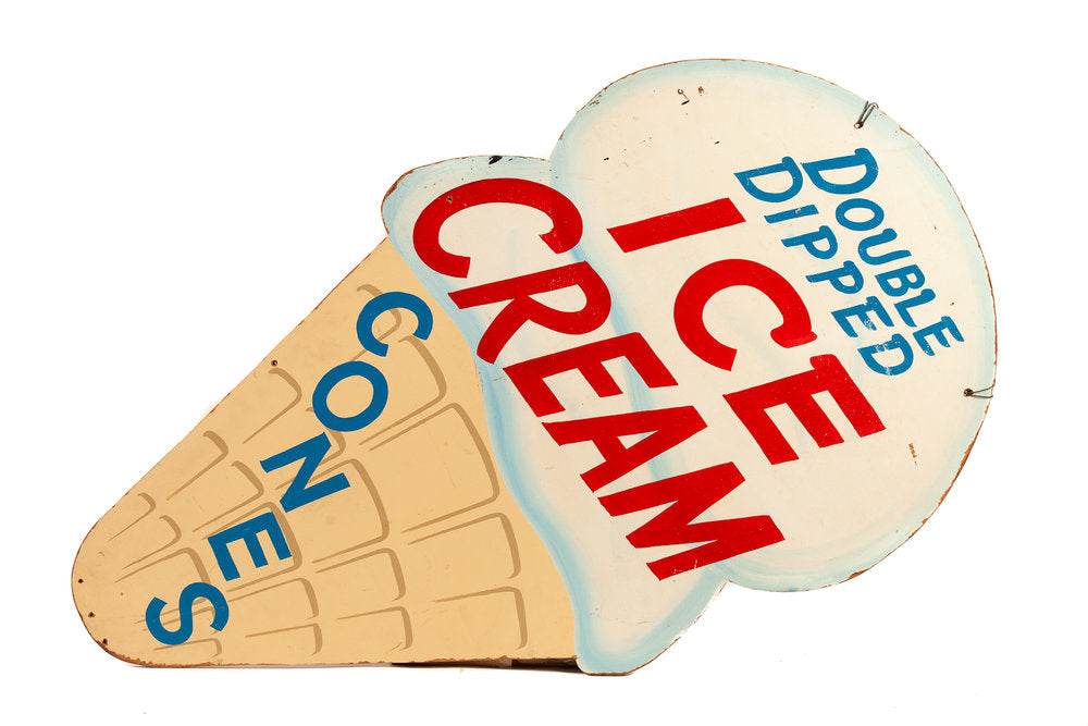 Antique Ice Cream Shop Trade Sign