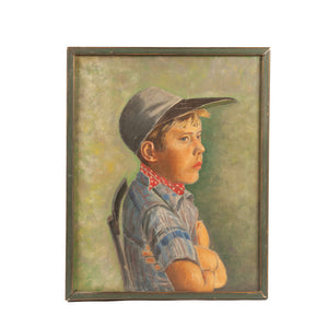 Mid Century Painting of Pouting Boy Scout