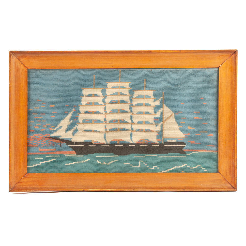 Mid Century Needlepoint of Clipper Ship