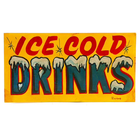 Wood Carnival Sign Ice Cold Drinks