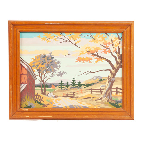 Mid Century Paint by Number Autumn Scenes Left Barn