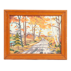 Mid Century Paint by Number Autumn Scenes Center Barn
