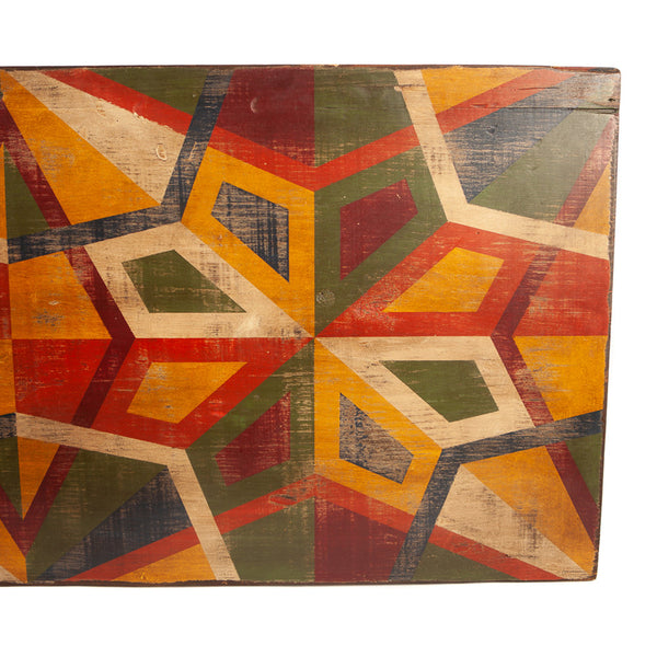 Multi Colored Geometric Folk Art Painting on Board