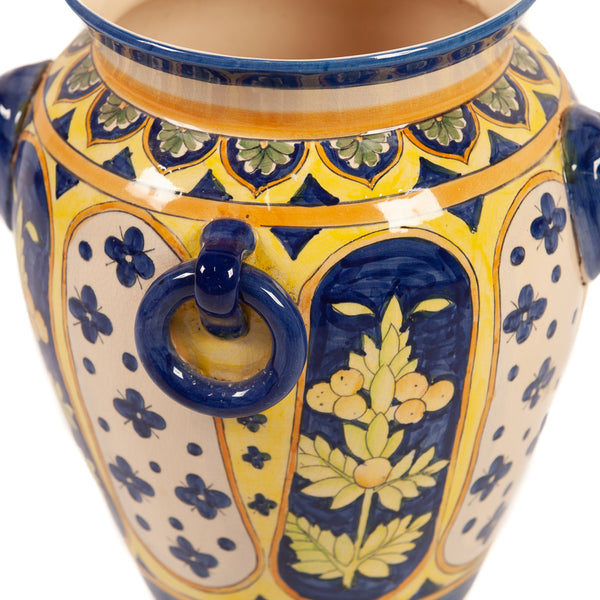 Large Italian Majolica Blue and Yellow Planter