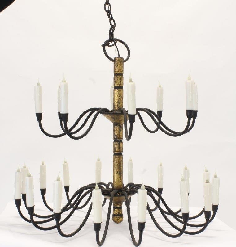 18th Century Style Iron and Gilt 24-Light Chandelier