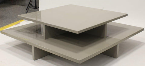 Grey Lacquer 2-Tier Coffee Table by Diamond Baratta Design.
