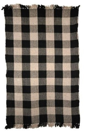 Black and Beige Gingham Woven Area Rug