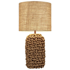 Basket Knot Rope Table Lamp With Burlap Shade