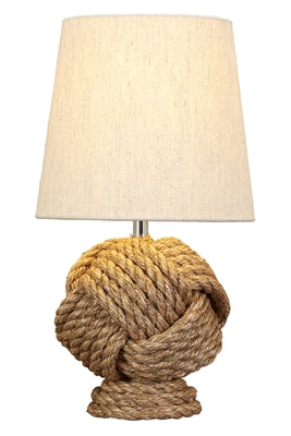 Rope Knot Table Lamp with Jute Fabric Shade