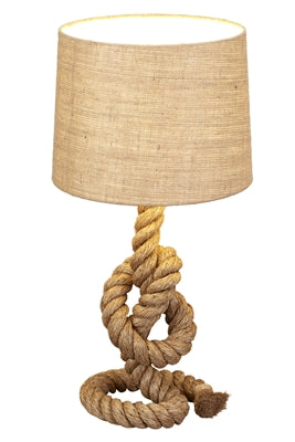 Nautical Rope Table Lamp with Jute Fabric Shade