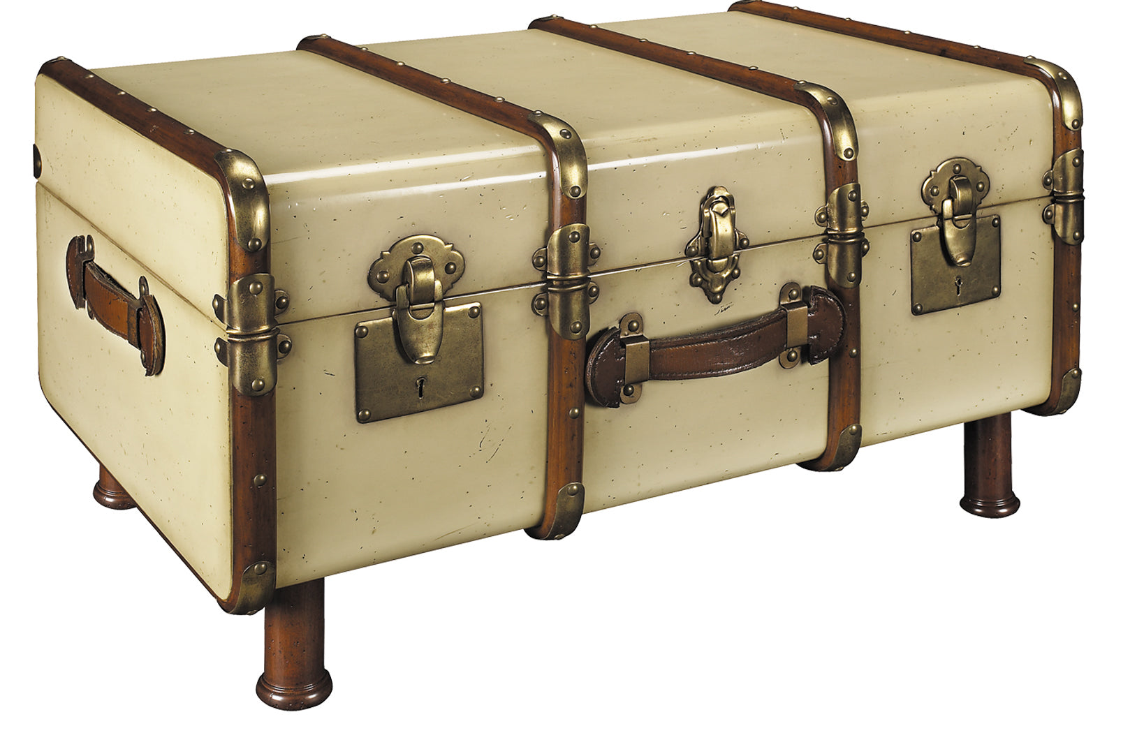 Ivory Wooden Captains Storage Trunk With Legs And Brass Bumpers