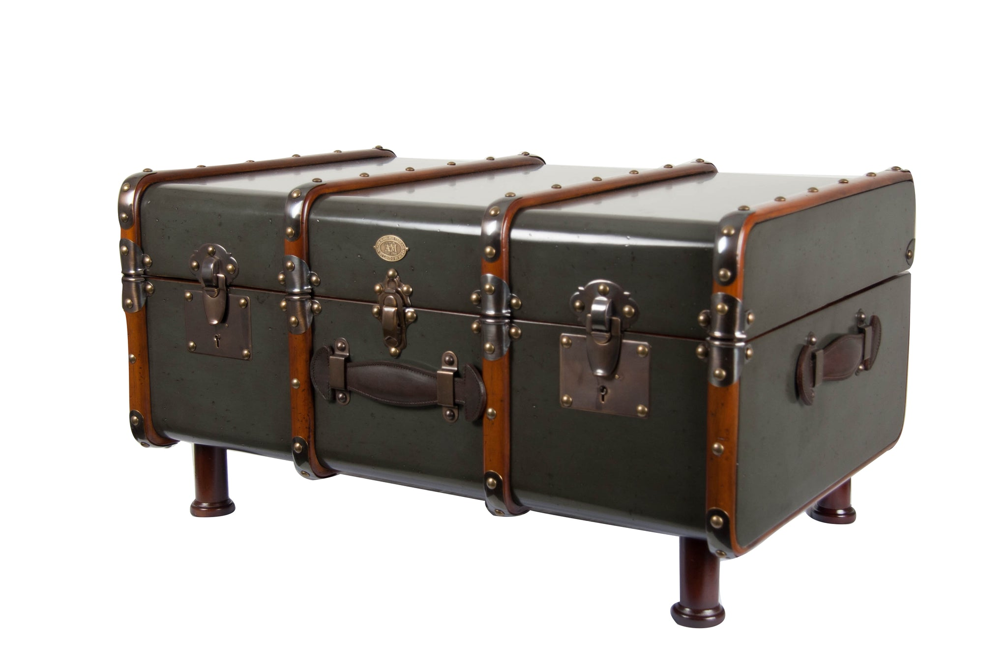 Grey Wooden Captains Storage Trunk With Legs And Brass Bumpers