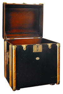 Black Wooden Storage Trunk End Table With Brass Bumpers