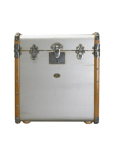 Silver Wooden Storage Trunk End Table With Brass Bumpers