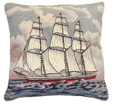 Needlepoint Pillow, Tall Ship