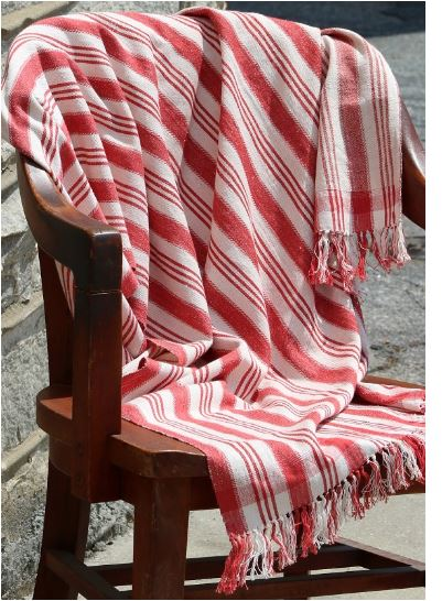 Striped Throw, Red & White