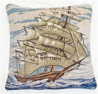 "Clipper Ship Needlepoint Throw Pillow, 18"" x 18"""