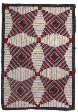 Hooked Area Rug, Quilted Star design