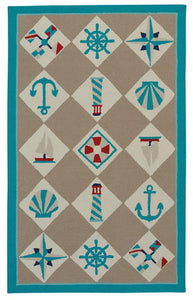 Nautical Grid: Beige Rug