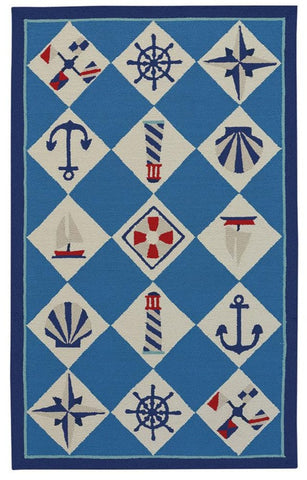 Nautical Grid: Ocean Blue Rug