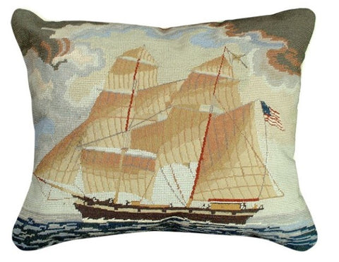 Salem Clipper Ship Needlepoint Throw Pillow