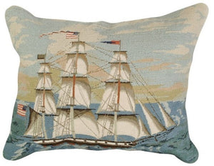 Newport Clipper Ship Needlepoint Throw Pillow