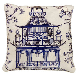 Blue Pagoda Needlepoint Textured Throw Pillow