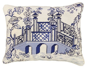 Blue Bridge Needlepoint Textured Throw Pillow