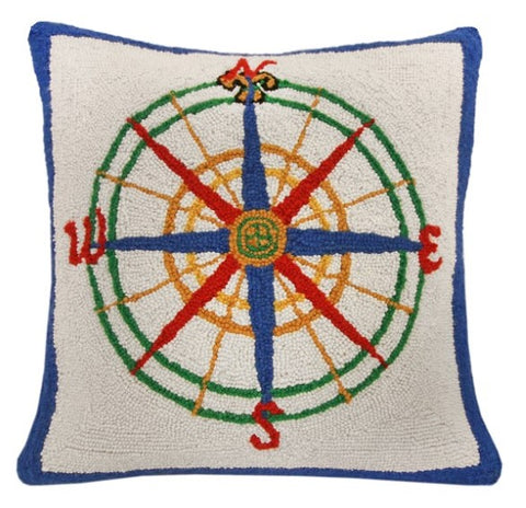 Primary + Green Nautical Compass Throw Pillow