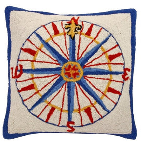 Compass Rose Hooked Textured Throw Pillow