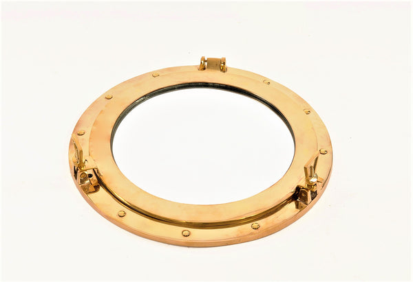 "Porthole Solid Brass Mirror,  8"" or 15"""