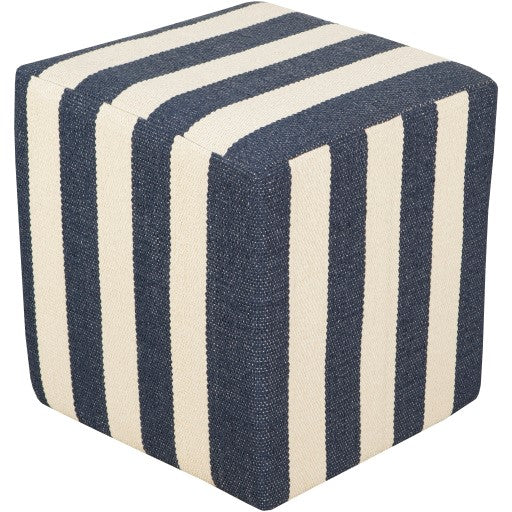 Black and Cream Awning Stripe Pouf