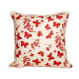 Red and White Butterfly Print Throw Pillows