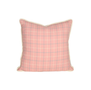 Pink and Blue Tattersall Throw Pillows