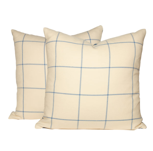 White and Blue Windowpane Plaid Throw Pillows