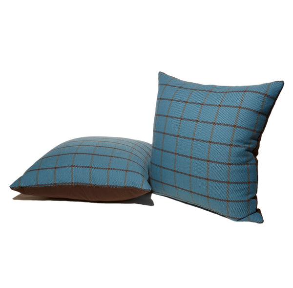 Blue and Brown Plaid Throw Pillows
