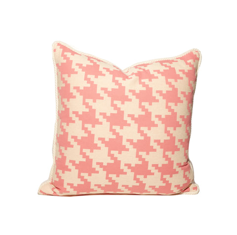 Pink and White Large Houndstooth Throw Pillows