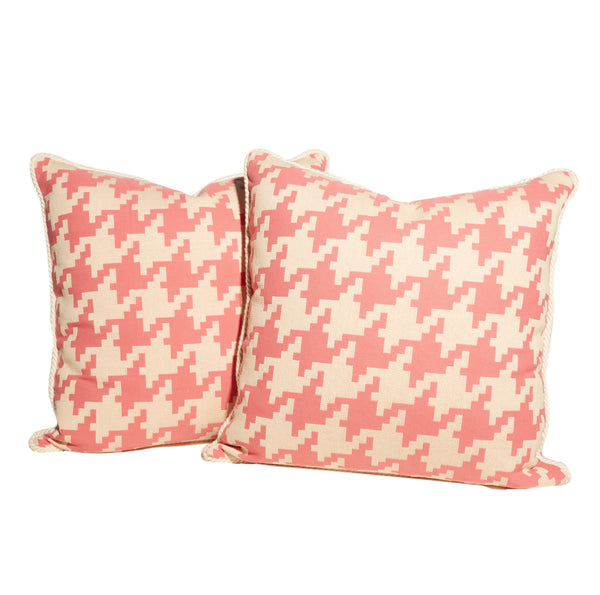 Pink and White Large Houndstooth Pillows