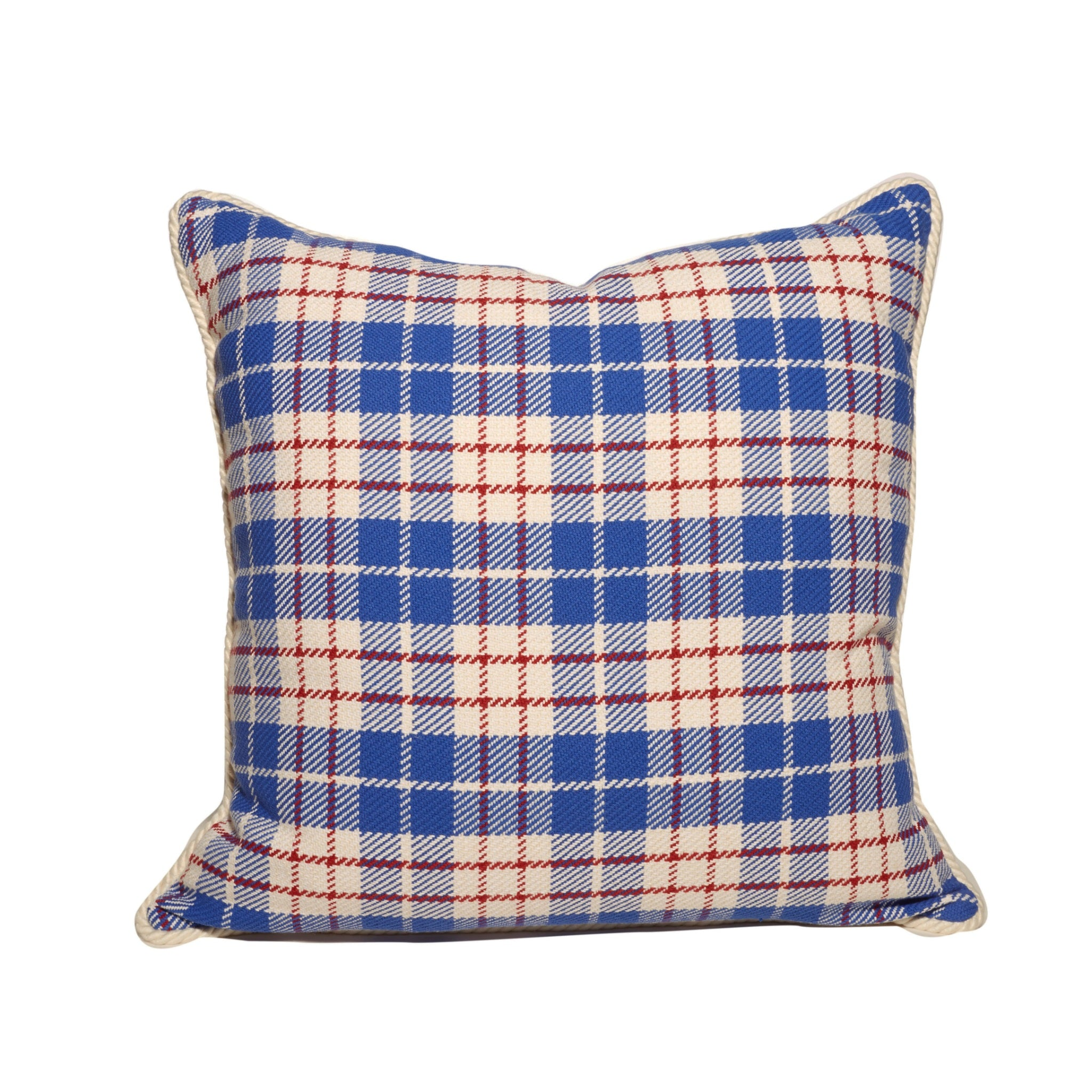 Red, White, and Blue Plaid Front White Back Throw Pillows
