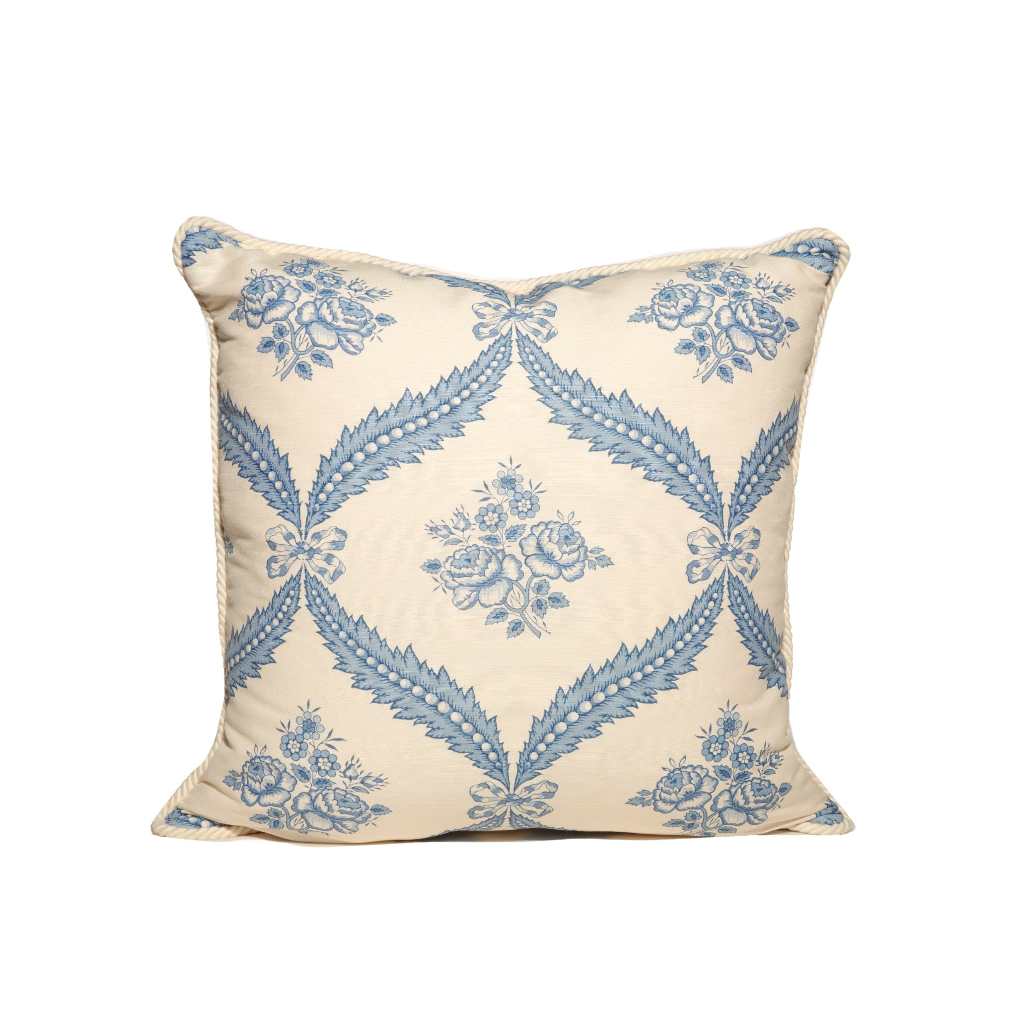 Blue and White Floral Pattern Pillows