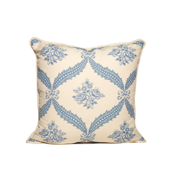 Blue and White Floral Pattern Throw Pillows