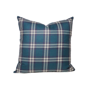 Teal and Navy Tartan Throw Pillows