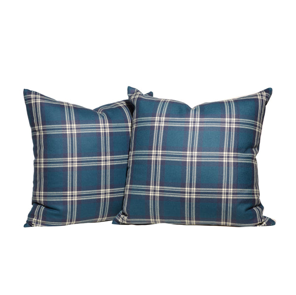 PAIR Teal and Navy Tartan Throw Pillows