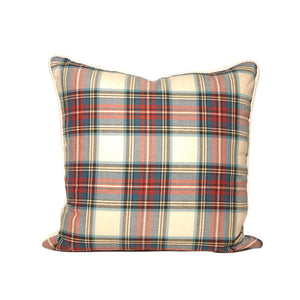 White Background Tartan Pillows
