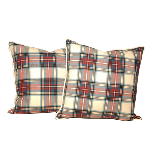 White Background Tartan Throw Pillows