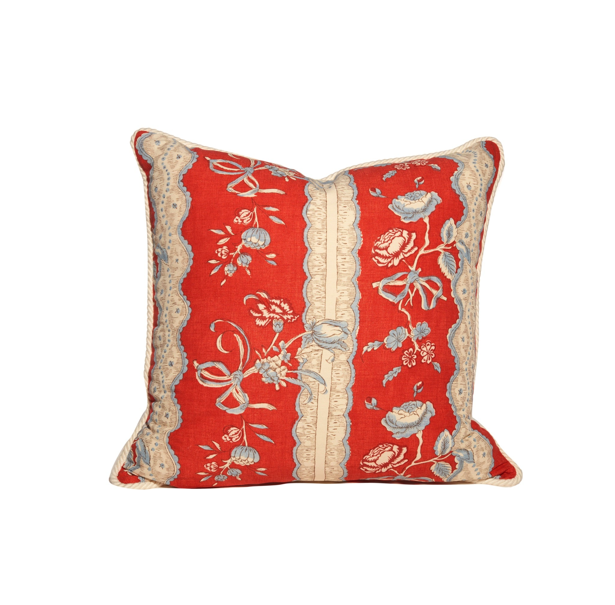 Red French Floral Stripe Throw Pillows