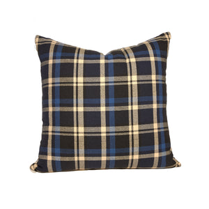 Black and Blue Plaid Throw Pillows