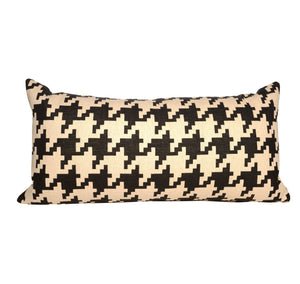 Black and White Large Houndstooth Lumbar Throw Pillow