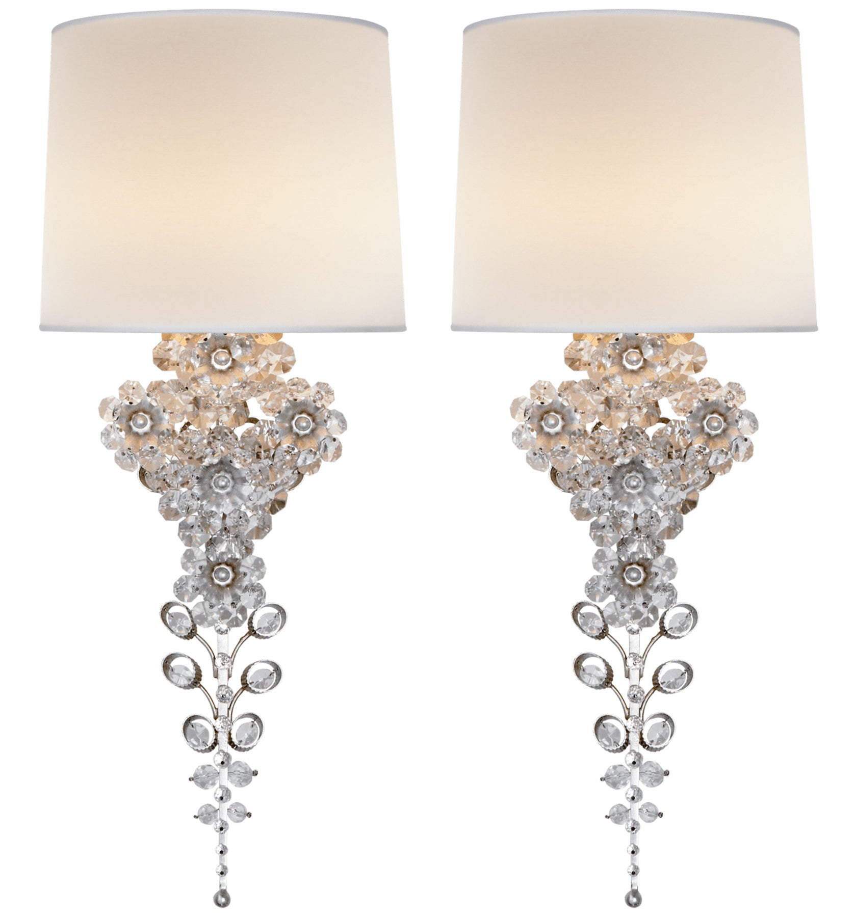 Pair of Floral Crystal Sconces