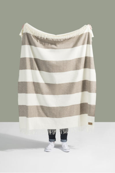 Barnwood Rugby Stripe Pattern Italian Throw Blanket